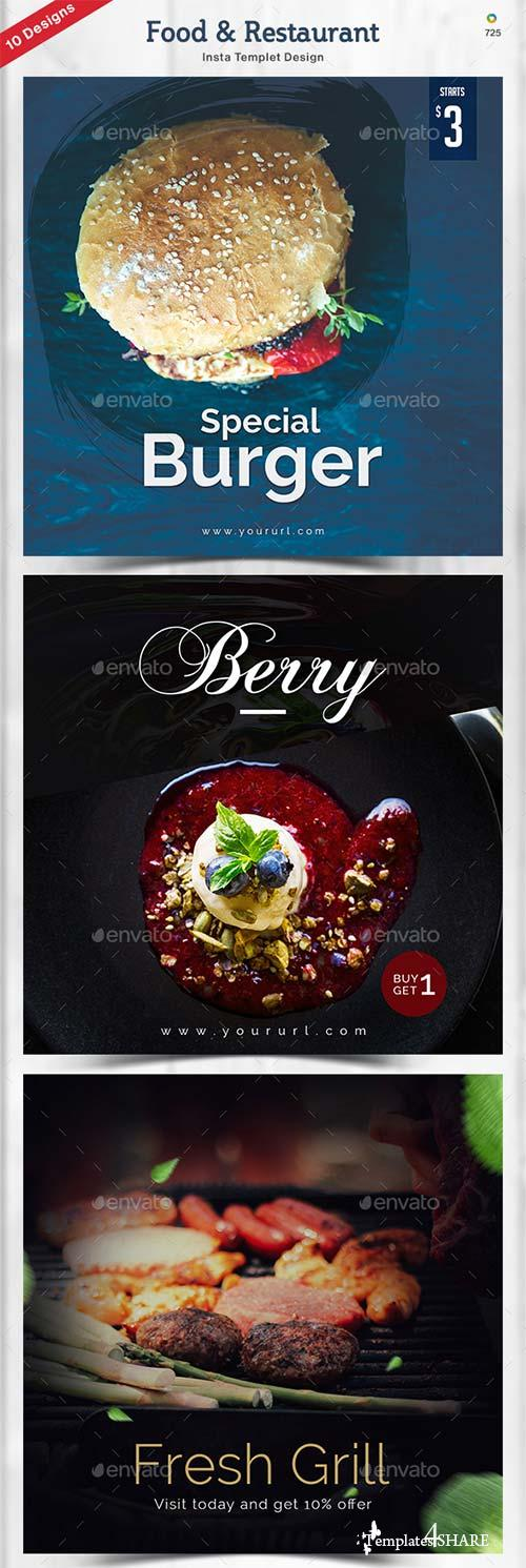 GraphicRiver Food & Restaurant Instagram Templates - 10 Designs
