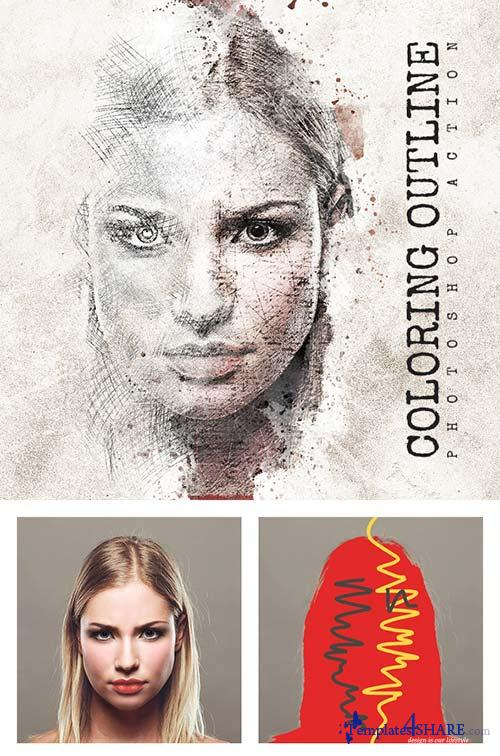GraphicRiver Coloring Outline Photoshop Action