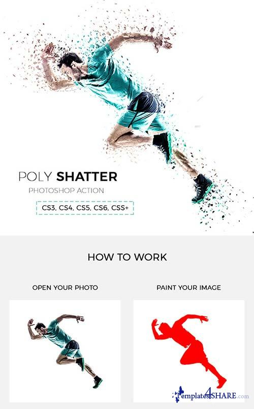 GraphicRiver Poly Shatter Photoshop Action