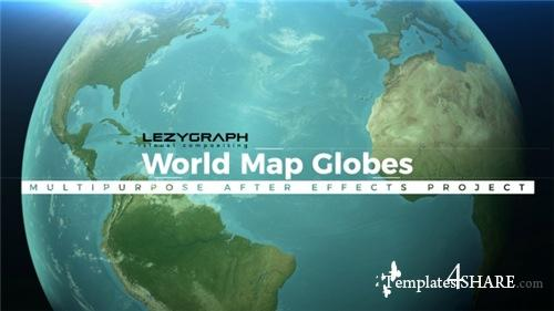 World Map Globes - After Effects Project (Videohive)