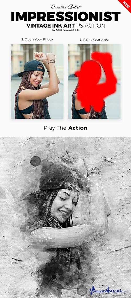 GraphicRiver Impressionist Vintage Ink Art Photoshop Action