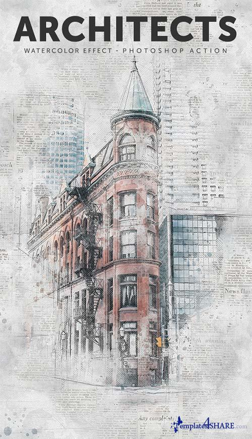 GraphicRiver Architects - Watercolor Effect Photoshop Action