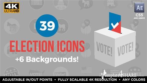39 Flat USA Election Icons - After Effects Project (Videohive)