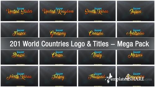 201 World Countries Logo & Titles - Mega Pack - After Effects Project (Videohive)