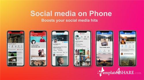 Social Media on Phone - After Effects Project (Videohive)